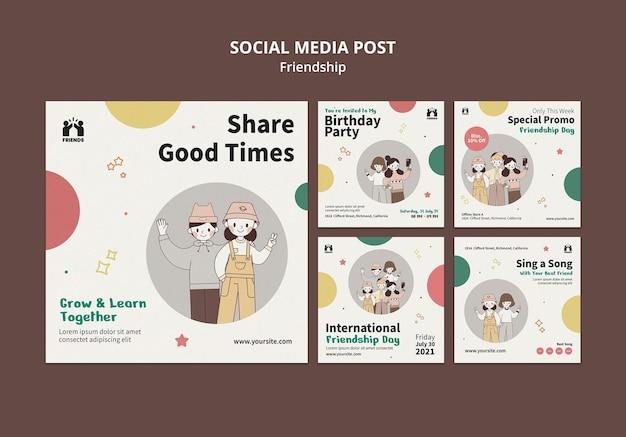 Collection de publications instagram pour la journée internationale de l'amitié avec des amis