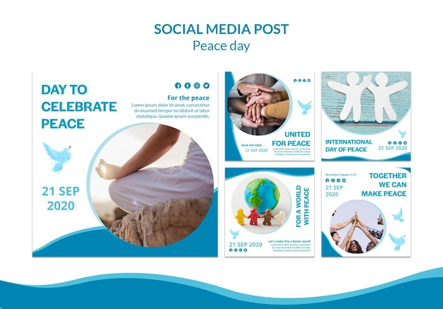 Collection de publications instagram pour la journée internationale de la paix