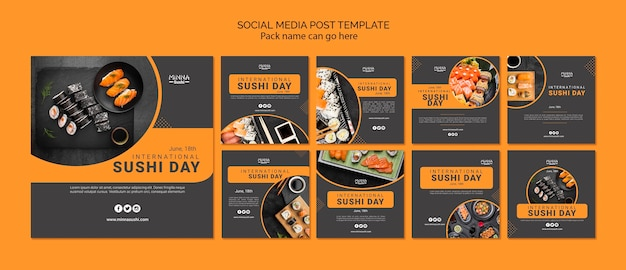 Collection de publications instagram pour la journée internationale des sushis