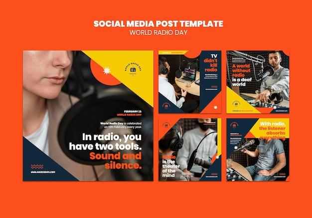 Collection de publications instagram pour la journée mondiale de la radio avec diffuseur et microphone