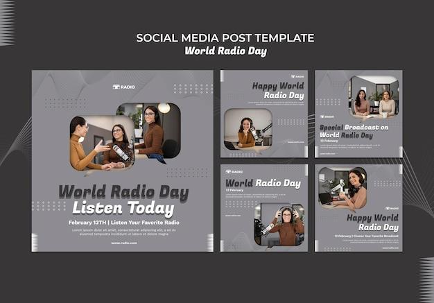 Collection de publications instagram pour la journée mondiale de la radio avec une diffuseuse
