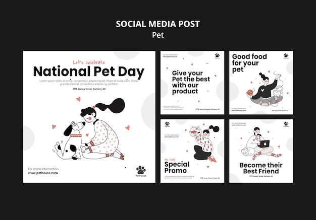 Collection de publications instagram pour la journée nationale des animaux de compagnie avec une propriétaire et un animal de compagnie