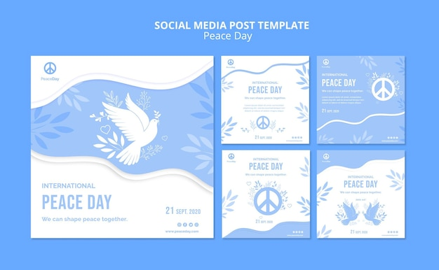 Collection de publications instagram pour la journée de la paix