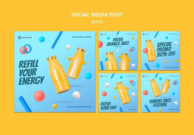 Collection de publications instagram pour un jus d'orange rafraîchissant dans des bouteilles en verre