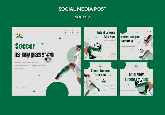 Collection de publications instagram pour la ligue de football féminin
