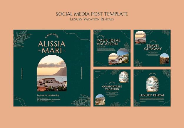 Collection de publications instagram pour les locations de vacances de luxe