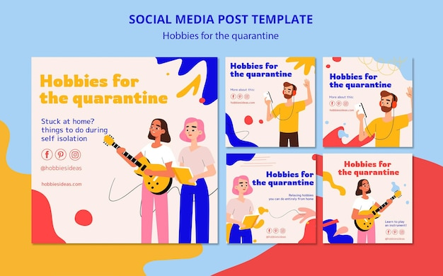 Collection de publications instagram pour les loisirs pendant la quarantaine