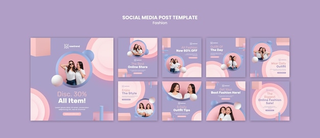 Collection de publications instagram pour magasin de vente au détail de mode