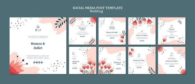 Collection de publications instagram pour un mariage avec des fleurs
