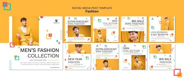 Collection de publications instagram pour la mode avec un modèle masculin