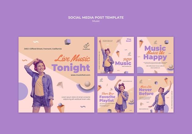 Collection de publications instagram pour la musique avec une femme utilisant des écouteurs et dansant