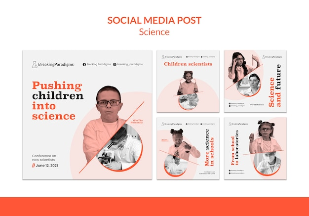 Collection de publications instagram pour la nouvelle conférence des scientifiques