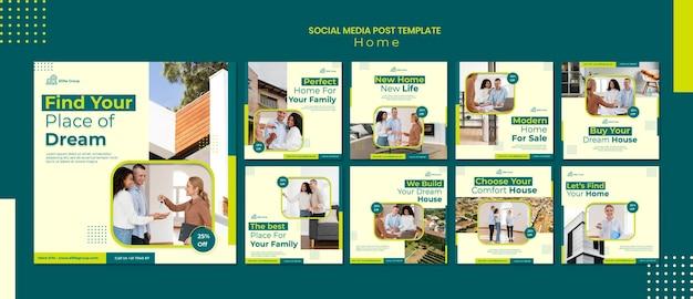 Collection de publications instagram pour la nouvelle maison familiale