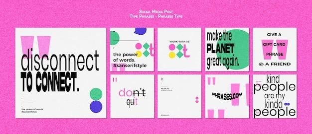 Collection de publications instagram pour les phrases de type