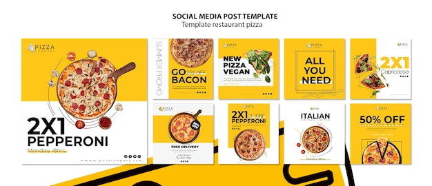 Collection de publications instagram pour une pizzeria
