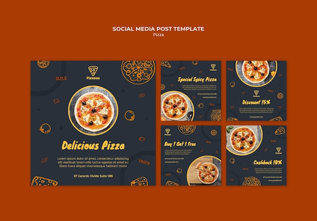 Collection de publications instagram pour pizzeria