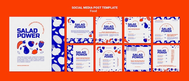 Collection de publications instagram pour le pouvoir de la salade