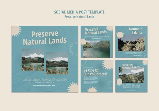 Collection de publications instagram pour la préservation de la nature avec paysage