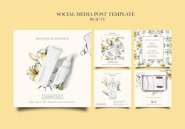 Collection de publications instagram pour les produits de beauté avec des fleurs dessinées à la main