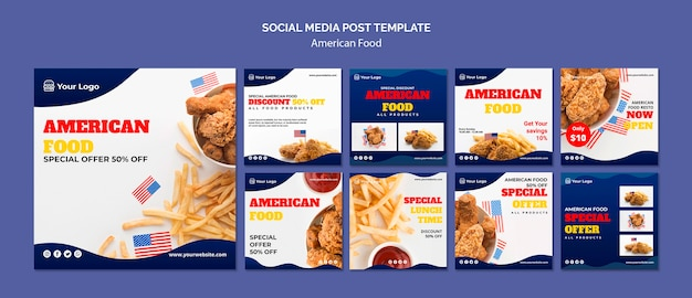 Collection de publications instagram pour un restaurant de cuisine américaine