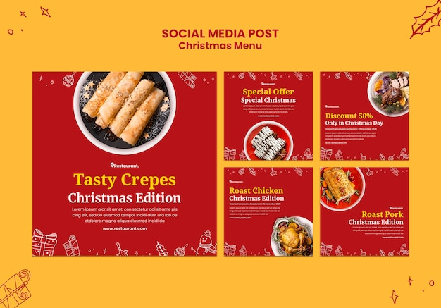 Collection de publications instagram pour un restaurant de cuisine de noël