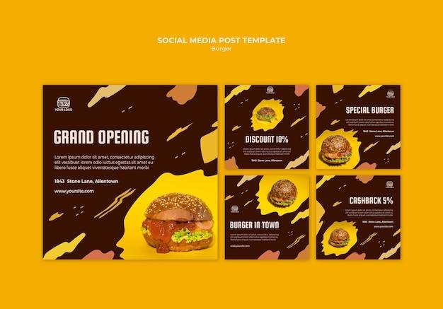 Collection de publications instagram pour un restaurant de hamburgers