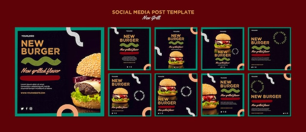 Collection de publications instagram pour un restaurant de hamburgers
