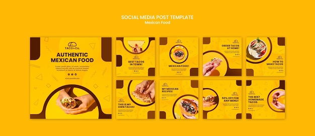 Collection de publications instagram pour un restaurant mexicain