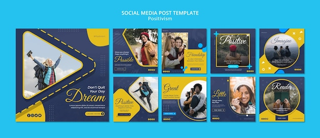 Collection de publications instagram pour rester positif