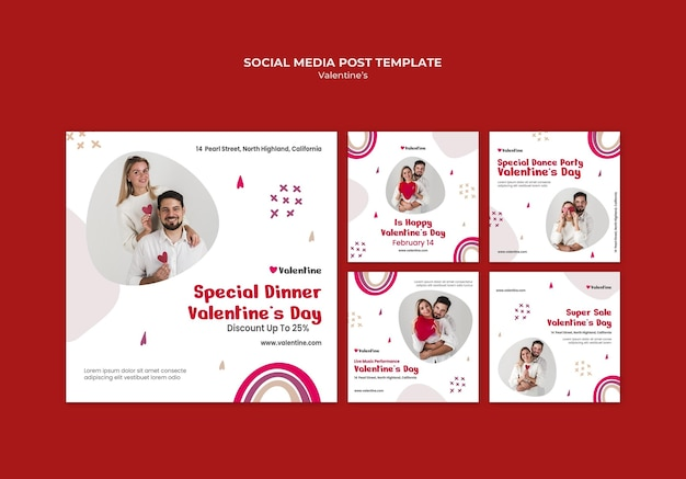 Collection de publications instagram pour la saint-valentin en couple