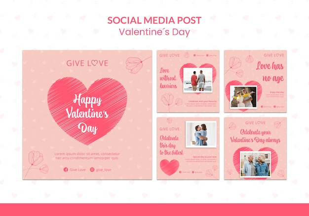 Collection de publications instagram pour la saint-valentin avec photo de couple