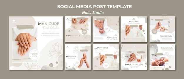Collection de publications instagram pour salon de manucure