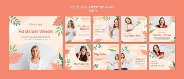 Collection de publications instagram pour la semaine de la mode du printemps
