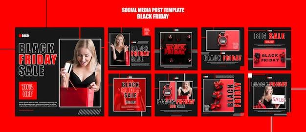 Collection de publications instagram pour le shopping du vendredi noir