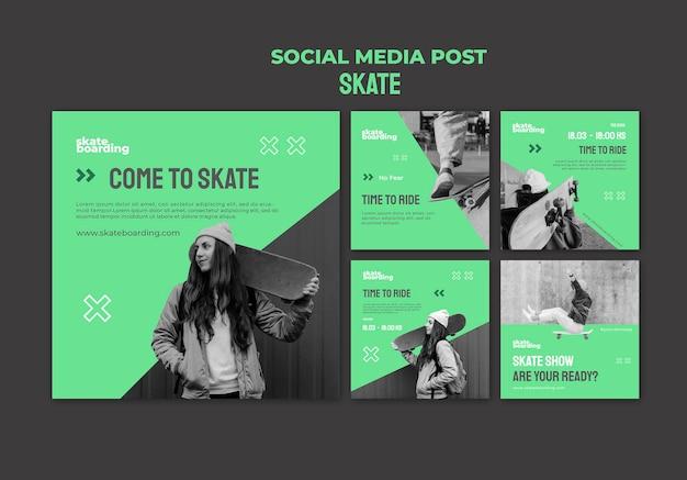 Collection de publications instagram pour le skateboard avec une skatrice