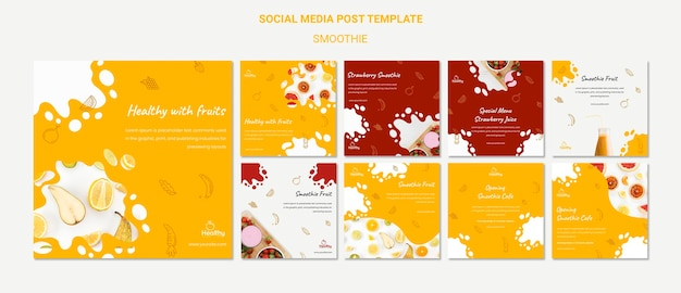 Collection de publications instagram pour des smoothies aux fruits sains
