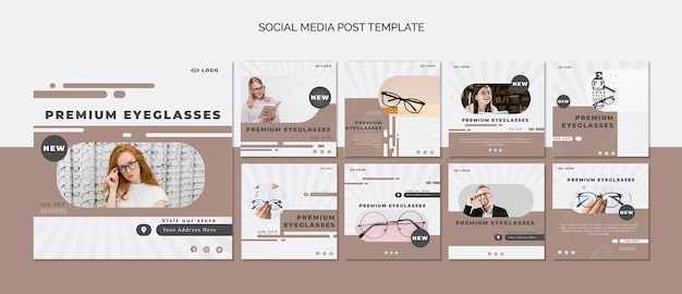 Collection de publications instagram pour la société de lunettes
