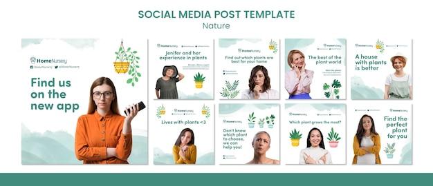 Collection de publications instagram pour le soin des plantes d'intérieur avec une femme