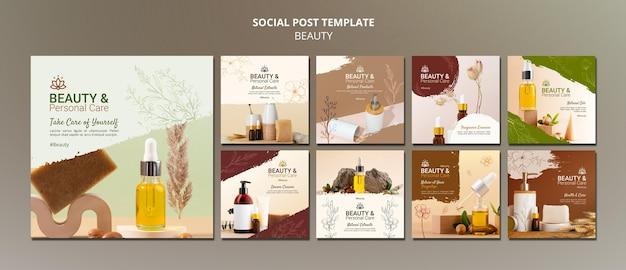 Collection de publications instagram pour les soins personnels et la beauté