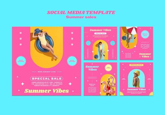 Collection de publications instagram pour les soldes d'été