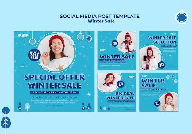 Collection de publications instagram pour les soldes d'hiver