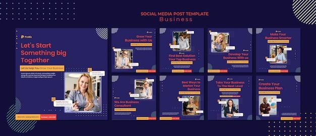 Collection de publications instagram pour des solutions commerciales professionnelles