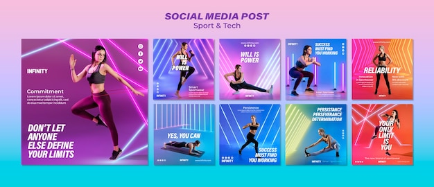 Collection de publications instagram pour le sport et l'exercice