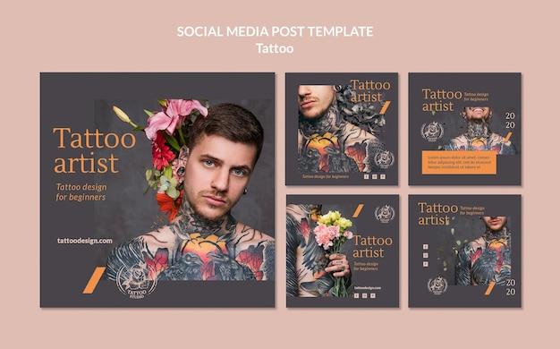 Collection de publications instagram pour tatoueur