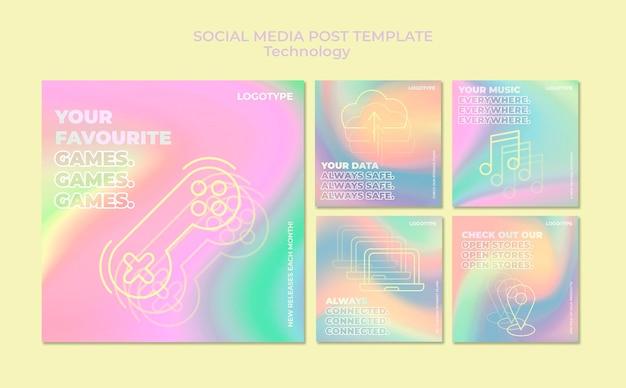 Collection de publications instagram pour la technologie électronique