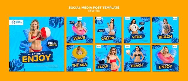 Collection de publications instagram pour les vacances d'été à la plage