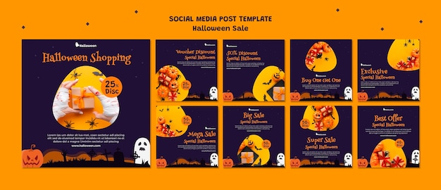 Collection de publications instagram pour la vente d'halloween