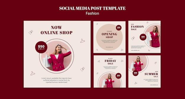 Collection de publications instagram pour la vente de mode avec femme et sacs à provisions