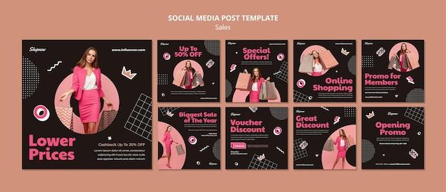 Collection de publications instagram pour les ventes avec une femme en costume rose