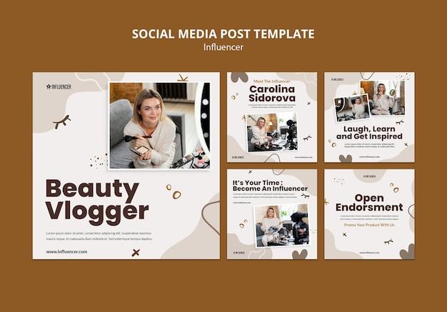 Collection de publications instagram pour vlogger de beauté avec une jeune femme